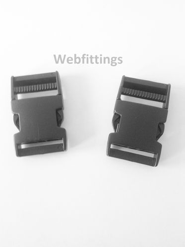 40mm Black Plastic Side Release Buckles x 2