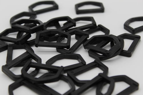 25mm Black Plastic D Ring Buckles x 10
