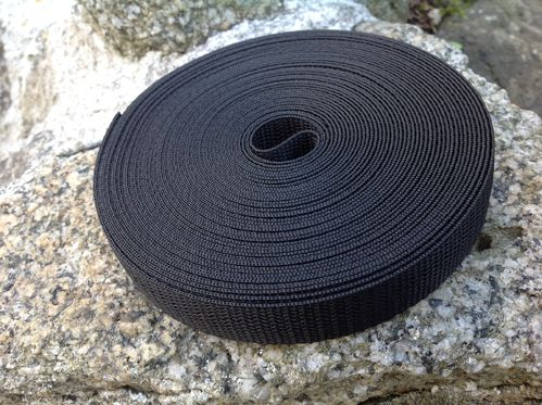 20mm 3/4 inch Webbing Black Quality in 10 mts