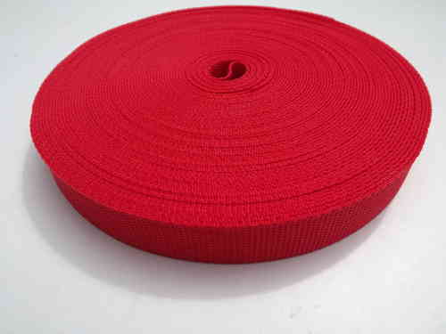 25mm Webbing Red Textured Weave x 100 metres