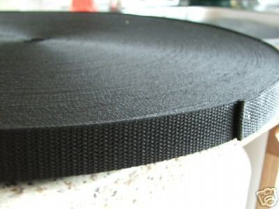 20mm Black Webbing 3/4 inch x 100 metres length