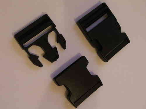 50mm Black Plastic Side Release Buckles x 10