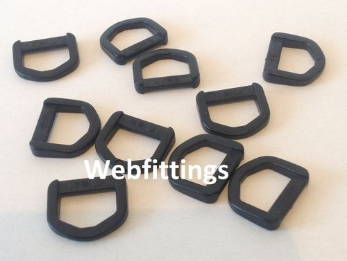 15mm Black Plastic D Ring Buckles x 10