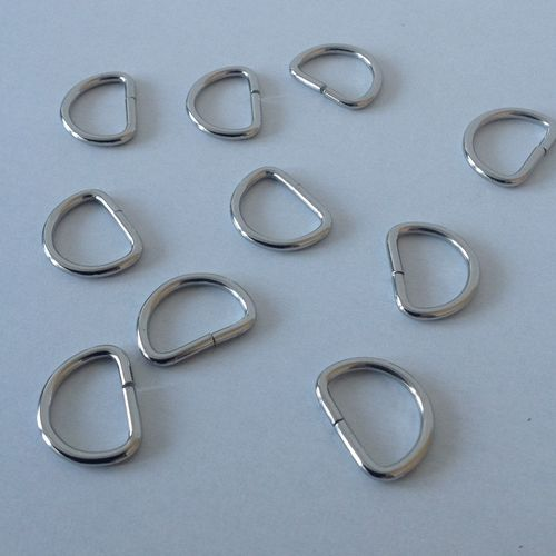18mm Metal D Ring Buckles x 10 for 15mm Webbing