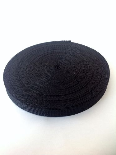 15mm Black Polypropylene Webbing Tape 10 Metre Roll
