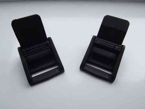 20mm Black Plastic Cam Lever Flap Buckle x 2