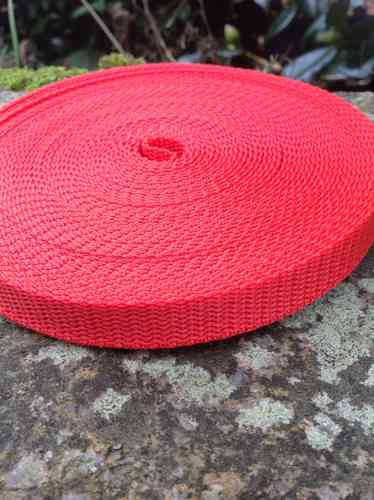 15mm Red Polypropylene Webbing Tape 10 Metre Roll