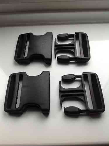 50mm Dual Adjust NO SEW Black Side Release Buckles x 10