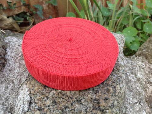 25mm Red Webbing Textured Weave x 10 metres