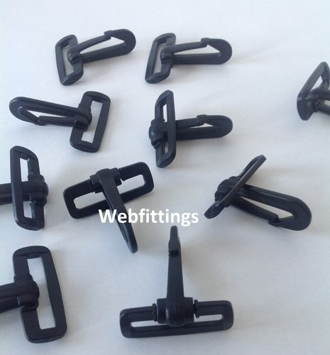 50mm Black Plastic Snap Hooks Dog Hook webbing x 2