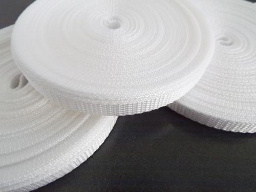 10mm White polypropylene Webbing in 10 metre length