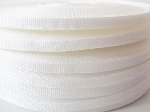 10mm White polypropylene Webbing in 50 metre length