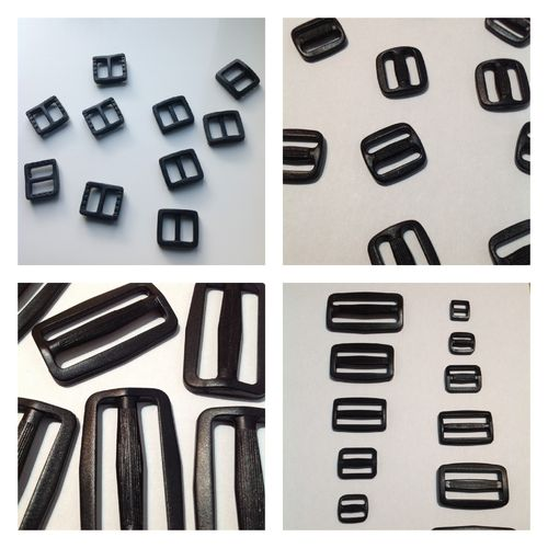 Black Plastic Triglide Slide Buckles 10, 15, 20, 25, 38 and 50mm