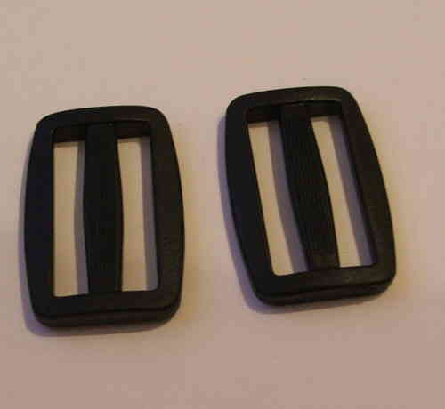 40mm Black Plastic Tri Glide Slide Buckles x 100