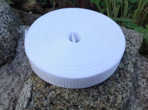 25mm Webbing White Textured Weave x 50 metres