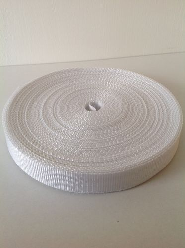 25mm Webbing White Textured Weave x 100 metres