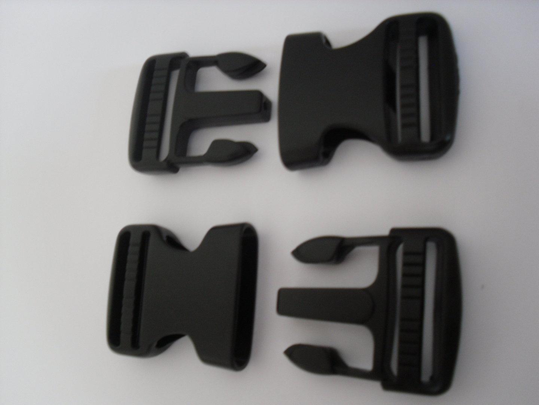 5 x 50mm BLACK WEBBING SIDE RELEASE BUCKLES /& 5 SLIDES