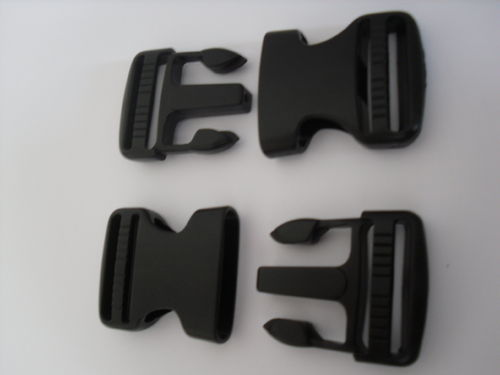 38mm Dual Adjust NO SEW Black Plastic Side Release Buckles x 2