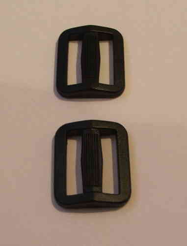 15mm Black Plastic Tri Glide Buckles x 5