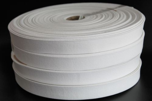 20mm White Woven Elastic on 25 meter Roll 1mm thickness
