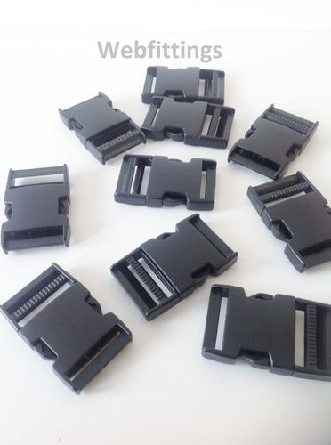 38mm Black Plastic Side Release Buckles x 1000